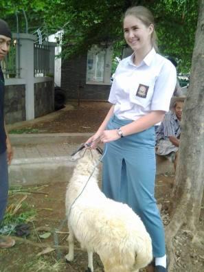 With Ayah's Lebaran goat (Socrates).
