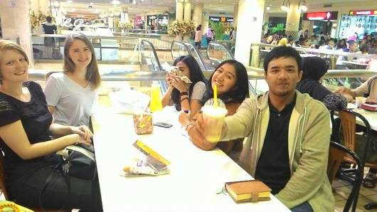 At the mall with friends and family.