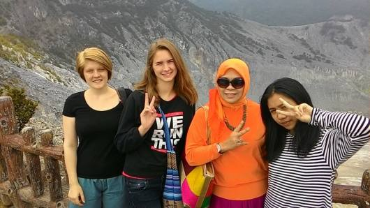 HEY GIRLS at Domas Crater at Tangkuban Perahu.