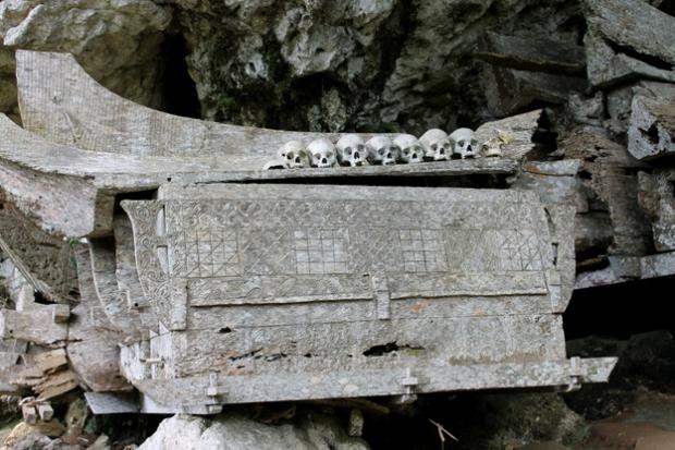 Coffins and skulls.