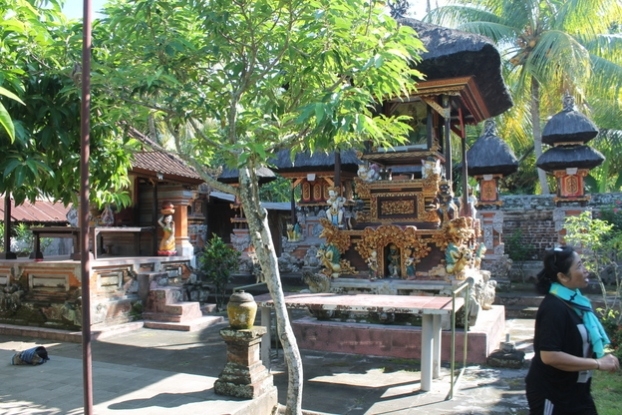 Our guide inside this familial temple grounds