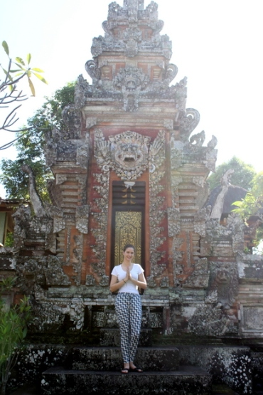 In front of the familial temple