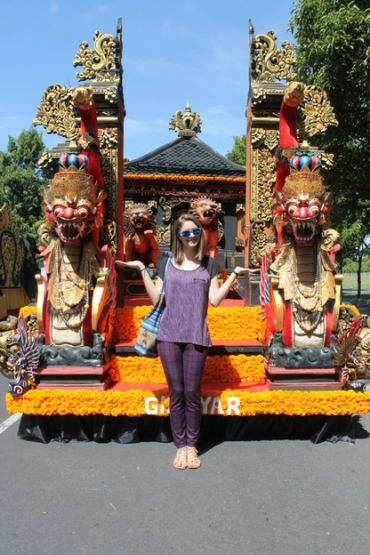 with a parade float